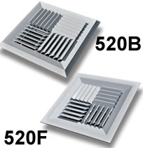 TRUaire 520F and 520B Series Modular Core Surface Mount Diffusers